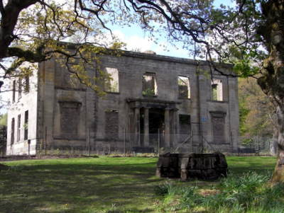 Front view of Plean House (ruin)